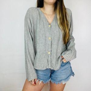 FLAX Gray Linen Wide Sleeve Button Up V neck Shirt